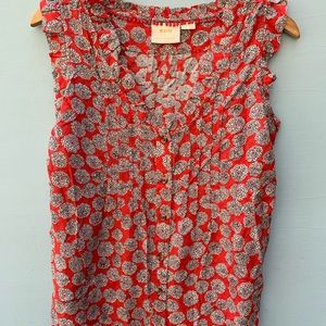 Anthropologie Top - Maeve Ruffled Floral Shirt